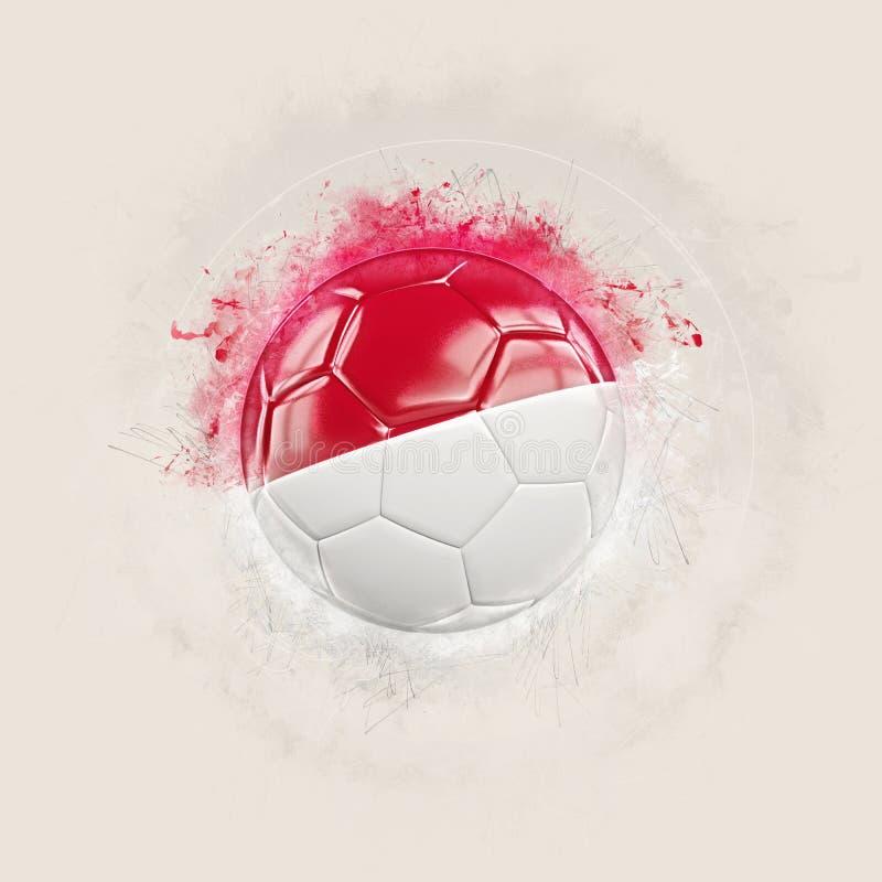 Grungefotboll med flaggan av Monaco royaltyfri illustrationer