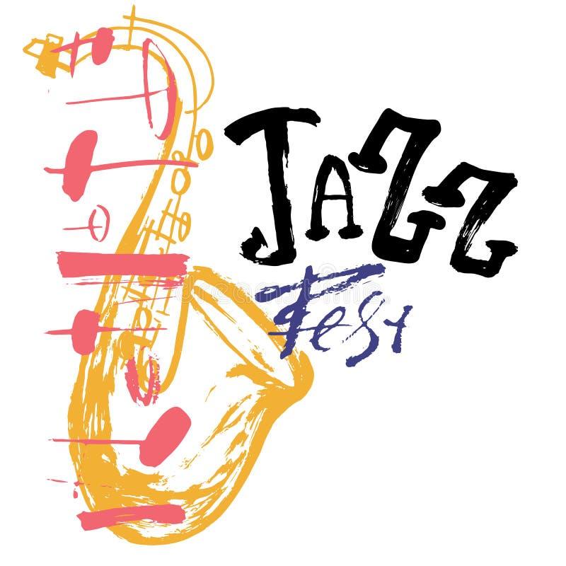 GrungefrihandsJazz Music affisch med saxofonen Hand dragen illustration med borsteslaglängder för festivalplakat och royaltyfri illustrationer