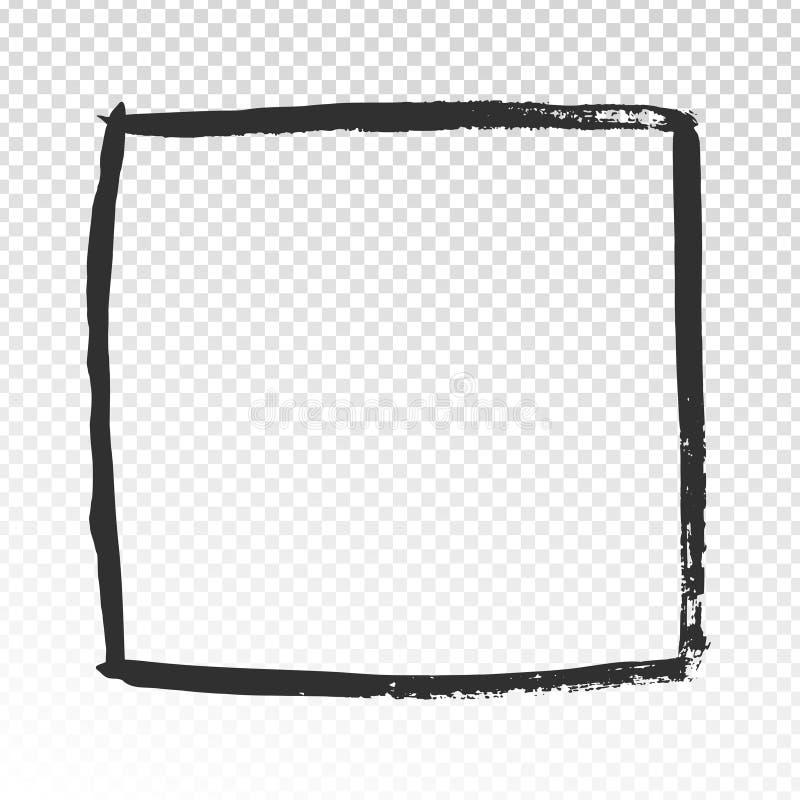 Grungefyrkantram Den svarta borsten slår kadern, design för etikett för vattenfärgmålarfärgborstar, eller handen drog fotoet inra stock illustrationer