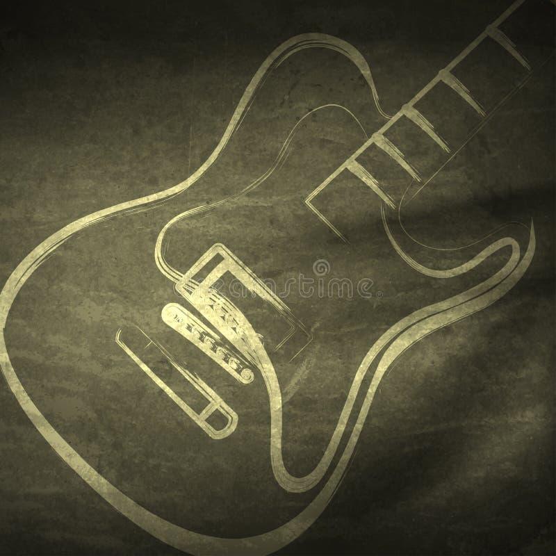 Grungegitaar, grunge muziek royalty-vrije illustratie