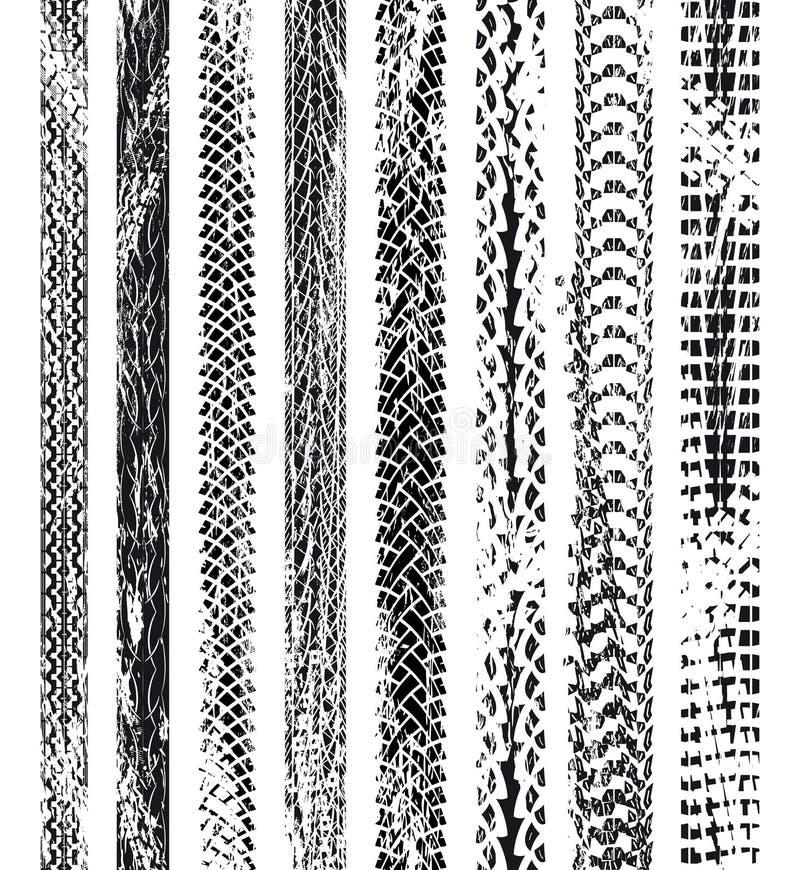 Grungegummihjulspår stock illustrationer