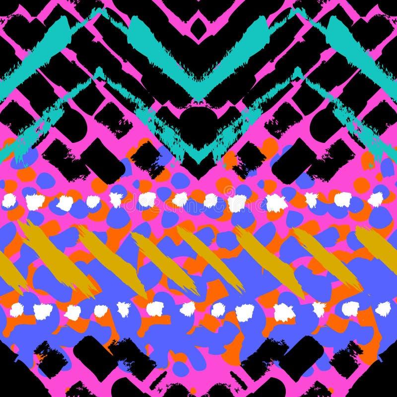 Grungehand geschilderd vector naadloos patroon stock illustratie