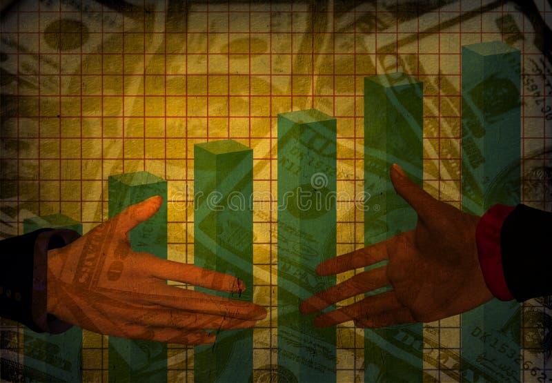 grungehandskakningpengar stock illustrationer