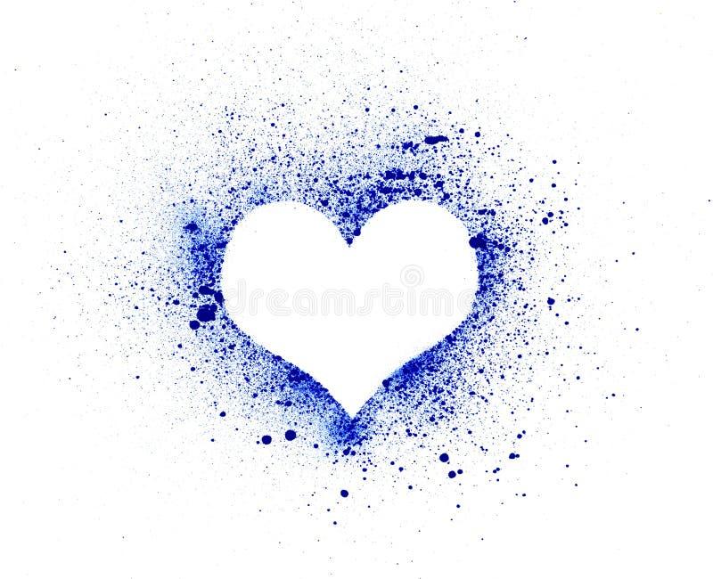 Grungehjärta, färgpulver plaskar vektor illustrationer