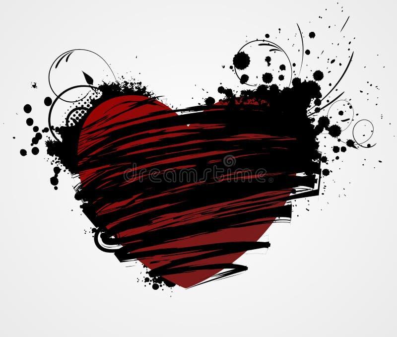 Grungehjärta med blom- beståndsdelar stock illustrationer
