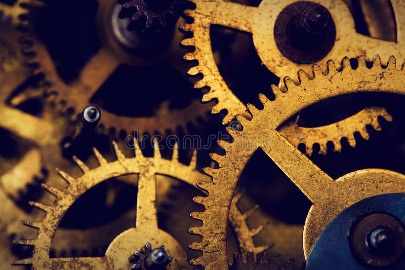 Grungekugghjulet, kugge rullar bakgrund Industriell vetenskap arkivfoto