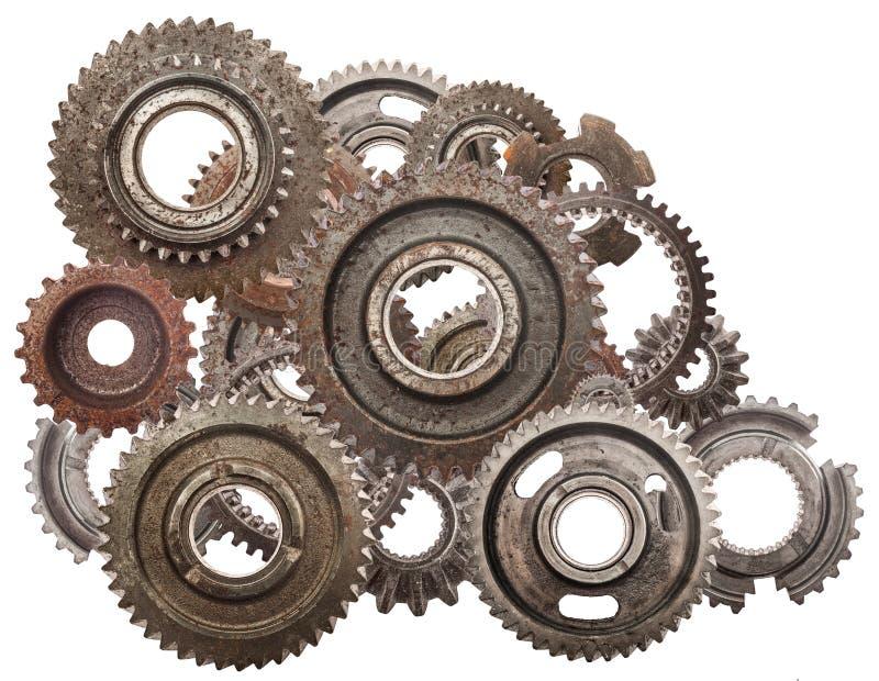 Grungekugghjulet, kugge rullar mekanismen som isoleras på vit Bransch vetenskap arkivbild