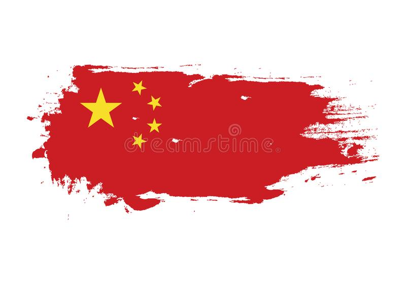 Grungekwaststreek met de nationale vlag van China Waterverf het schilderen vlag Symbool, affiche, banner van de nationale vlag Ve royalty-vrije illustratie