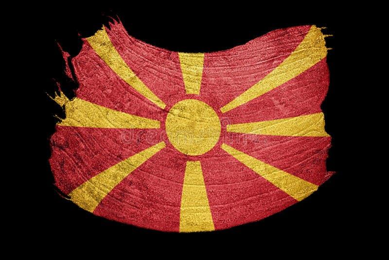 GrungeMakedonien flagga Macedonian flagga med grungetextur Brus vektor illustrationer