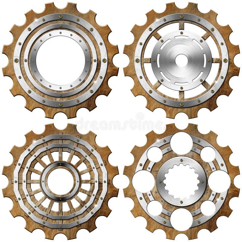 Grungemetallkugghjul på vit bakgrund vektor illustrationer