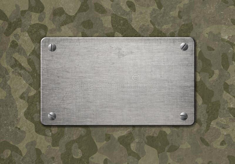Grungemetallplatta med den militära illustrationen för kamouflage 3d stock illustrationer