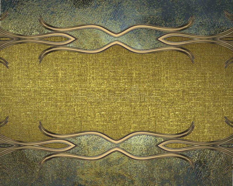 Grungemetalltextur med en guld- platta Beståndsdel för design Mall för design kopiera utrymme för annonsbroschyr eller meddelande vektor illustrationer