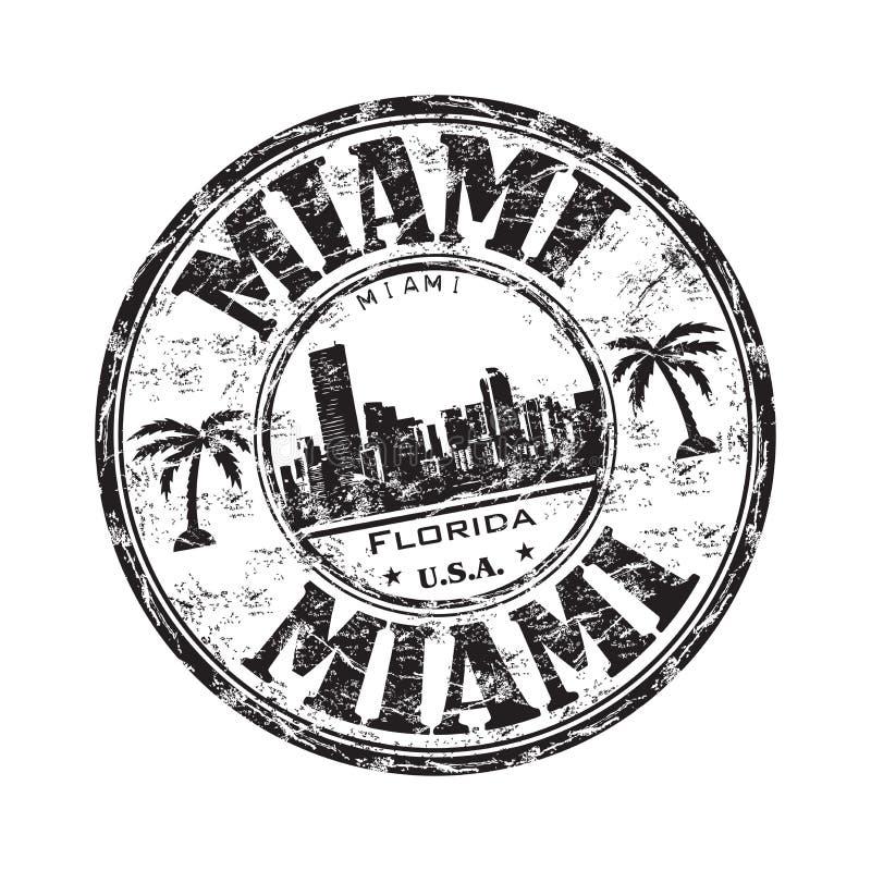 grungemiami rubber stämpel stock illustrationer