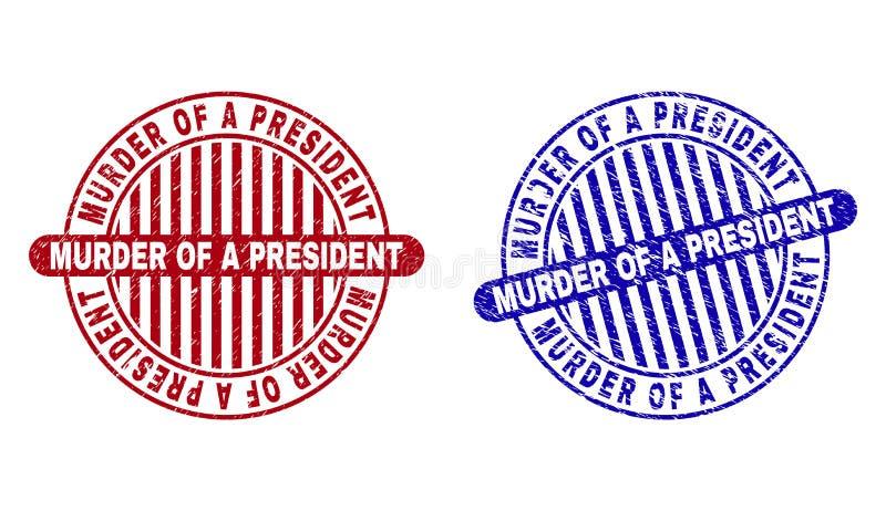GrungeMORD AV skyddsremsor för PRESIDENT en Textured Round Stamp stock illustrationer
