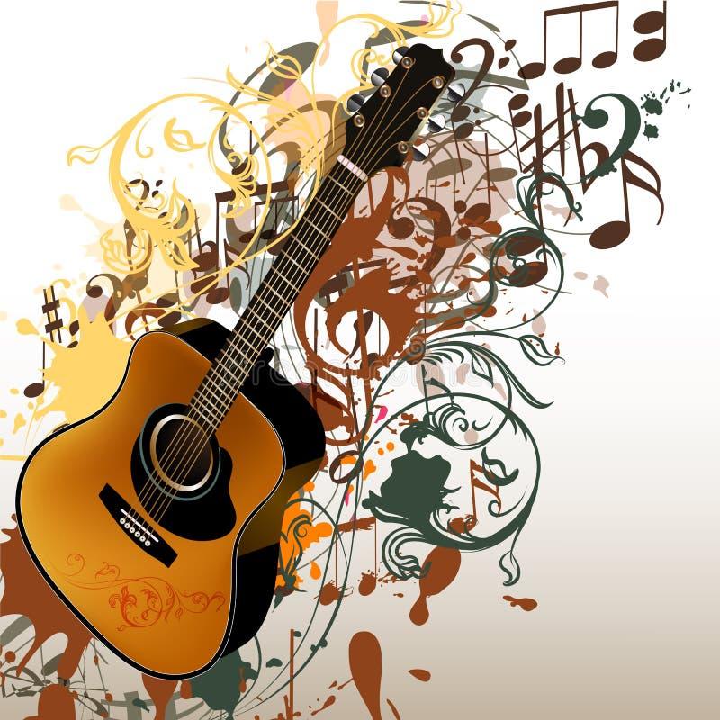 Grungemusik-Vektorhintergrund mit Gitarre und Anmerkungen lizenzfreie abbildung
