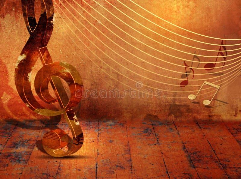 Grungemusikbakgrund med musikanmärkningar på notsystem stock illustrationer