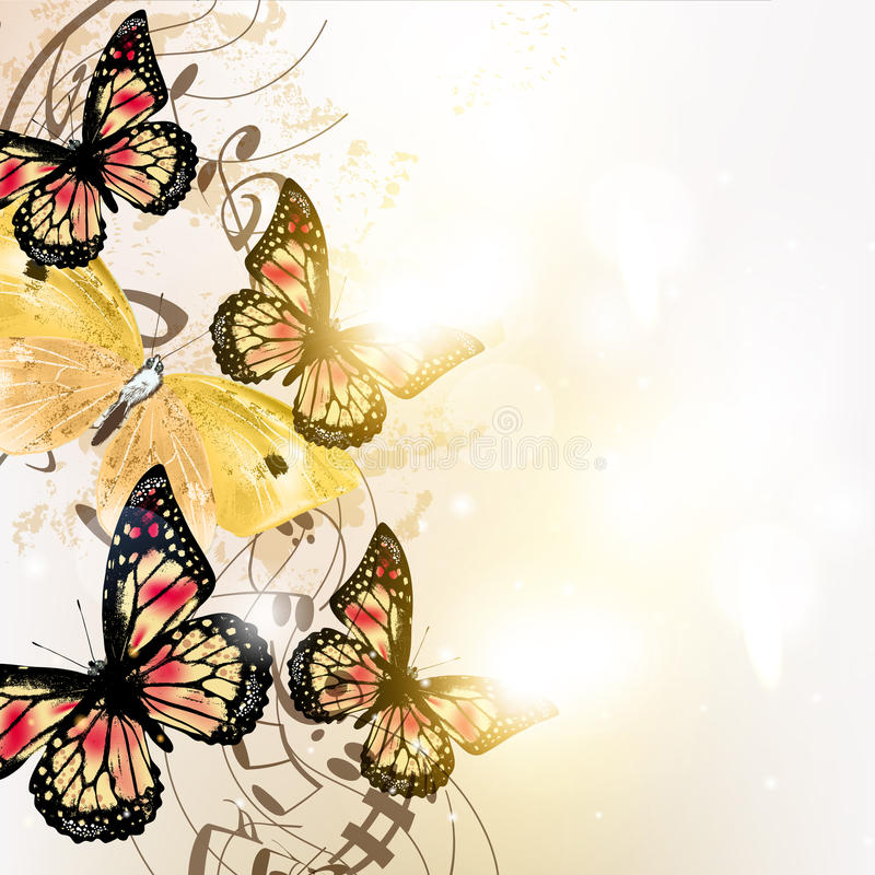 Grungemusikhintergrund mit Schmetterlingen vektor abbildung