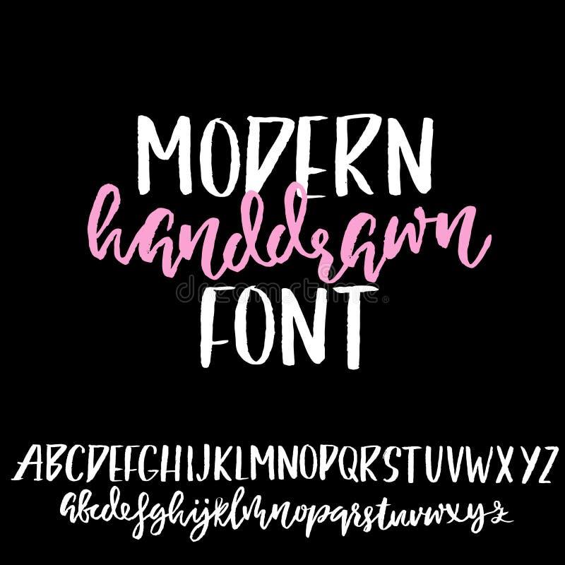 Grungenödlägestilsort Moderna torra borstefärgpulverbokstäver handskrivet alfabet också vektor för coreldrawillustration royaltyfri illustrationer