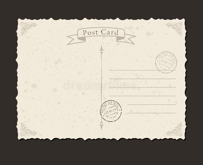 Download Grungeprentbriefkaar En Postzegel Ontwerp Vector Illustratie - Illustratie bestaande uit ontwerp, uitnodiging: 54089190