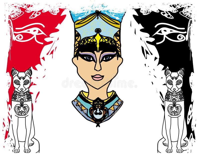Grungeram med den egyptiska drottningen vektor illustrationer