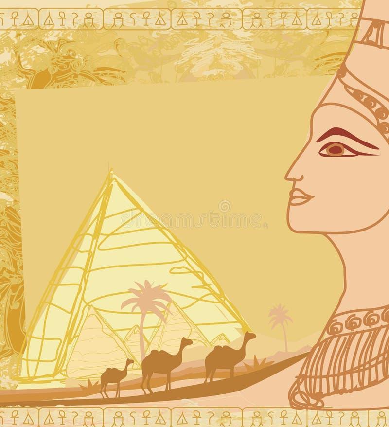 Grungeram med den egyptiska drottningen stock illustrationer