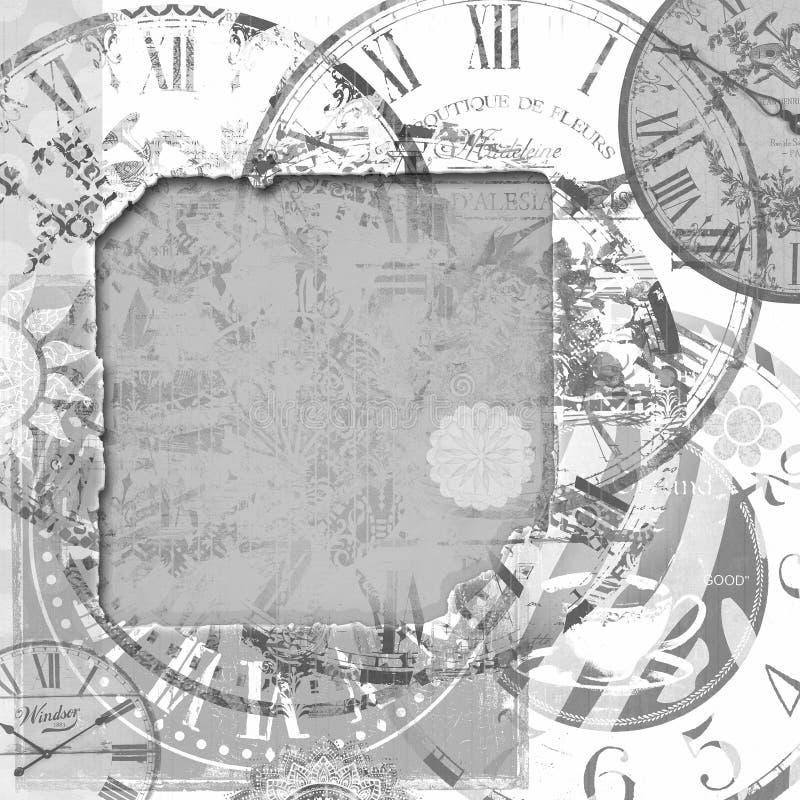 Grungeram med gamla klockor vektor illustrationer
