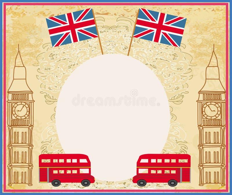 Grungeram med symboler av London stock illustrationer