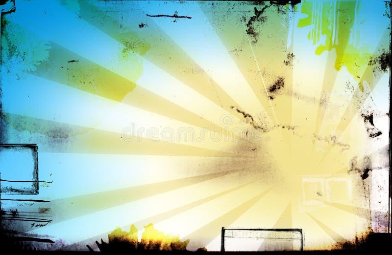 grungesidan rays fläckar royaltyfri illustrationer
