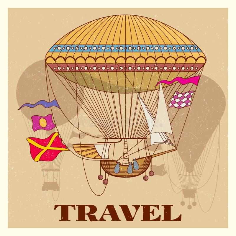 Grungetappningaffisch med den varma ballongen för retro luft royaltyfri illustrationer