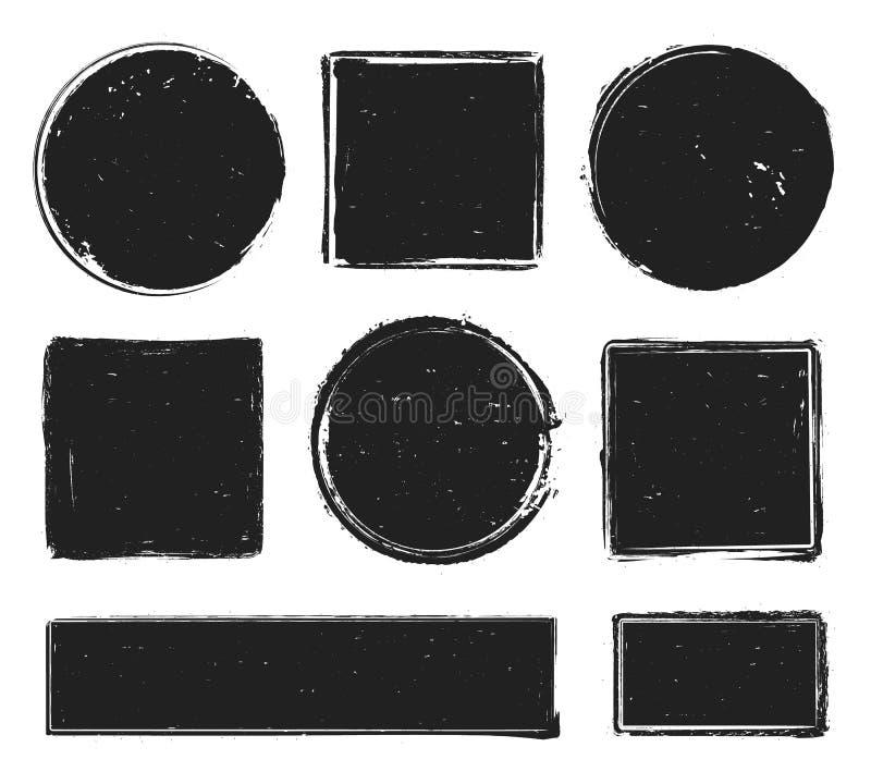 Grungetexturstämpel Cirkla etiketten, fyrkantramen med grungetexturer och isolerade vektorn för rubber stämplar den tryck vektor illustrationer