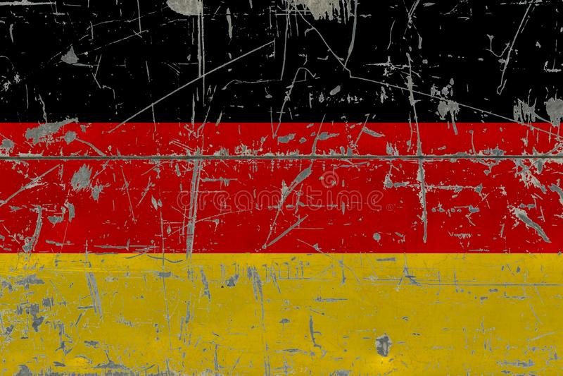 GrungeTysklandflagga på gammal skrapad träyttersida Nationell tappningbakgrund royaltyfri illustrationer