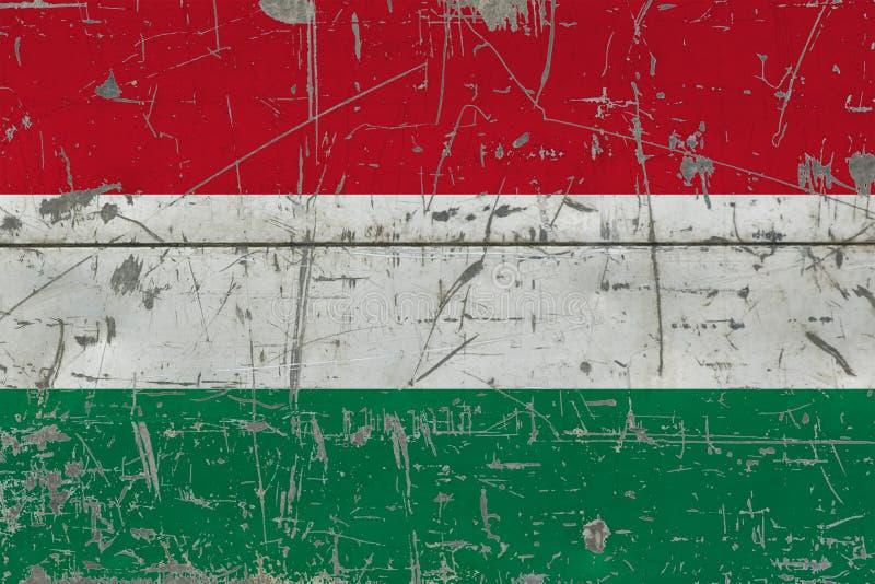 GrungeUngernflagga på gammal skrapad träyttersida Nationell tappningbakgrund vektor illustrationer