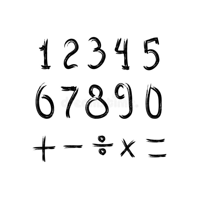 Grungeuppsättning av nummer och matematiskt tecken Skissa vattenf?rgen, m?larf?rg, grafitti ocks? vektor f?r coreldrawillustratio stock illustrationer