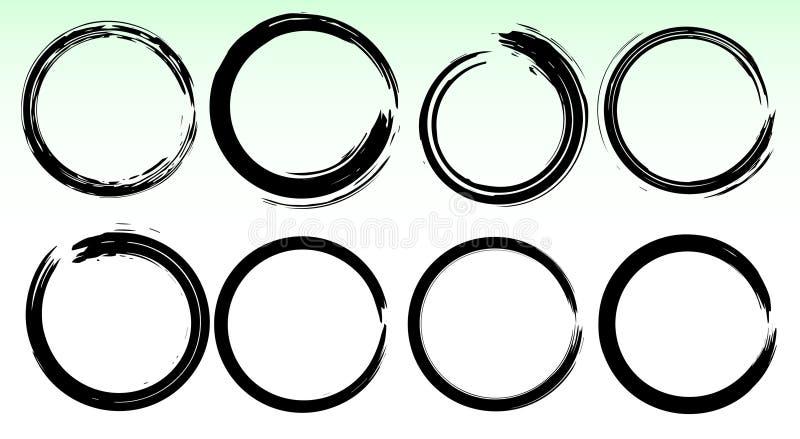 Grungevektorcirklar slaglängder för borsteset royaltyfri illustrationer