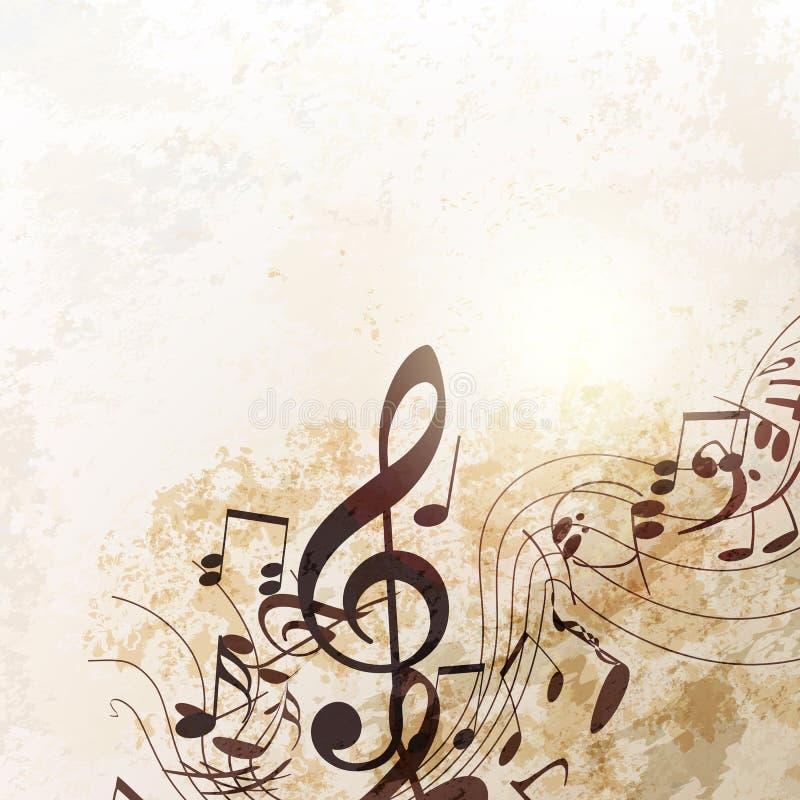 Grungevektorhintergrund mit Musikanmerkungen in der Weinleseart vektor abbildung