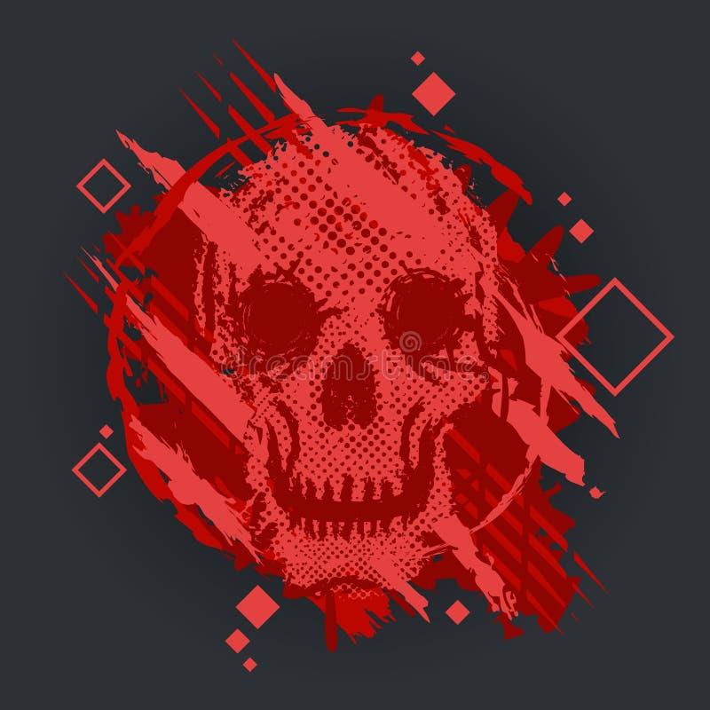 Grungevektorskalle med grungefärgstänk också vektor för coreldrawillustration royaltyfri illustrationer