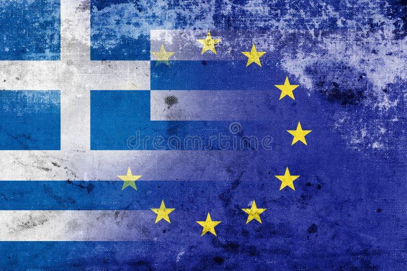 Grungevlag van de Europese Unie van Griekenland en. De economische crisis in Griekenland stock foto