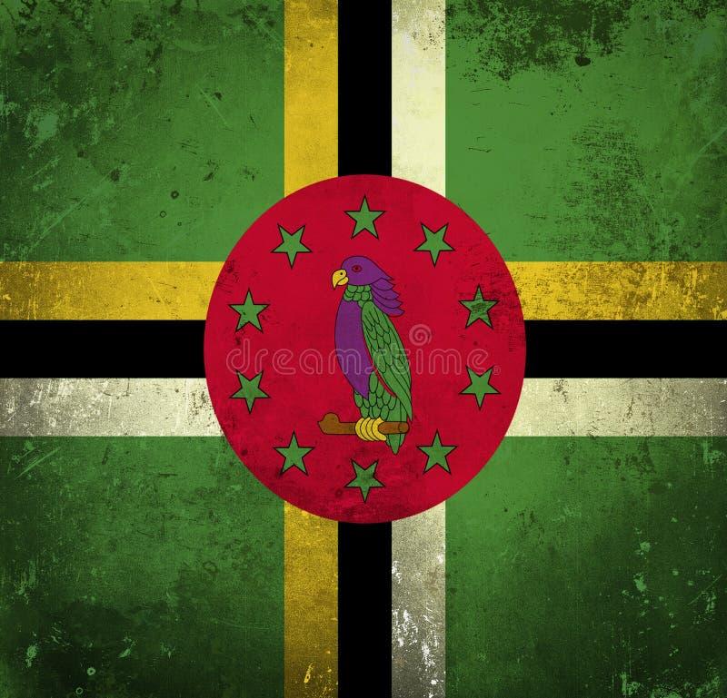 Grungevlag van Dominica royalty-vrije illustratie