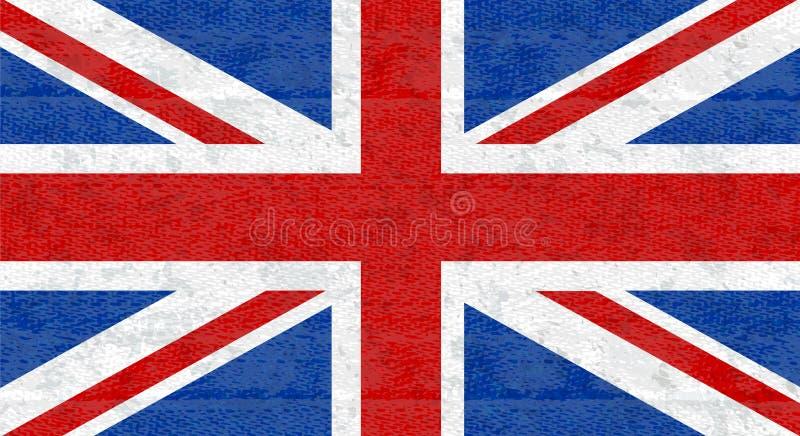 Grungevlag van Groot-Brittannië, het UK Engelse banner met gekraste textuur op denimstof Vectorpictogram van vlag van Engeland royalty-vrije illustratie