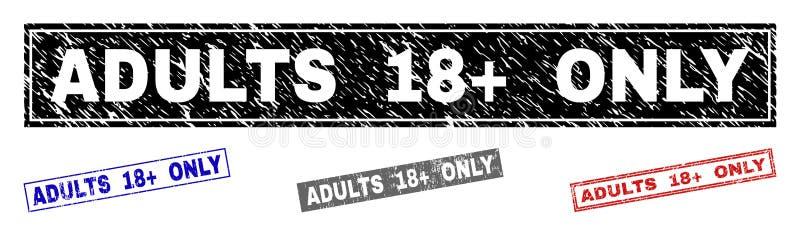 GrungeVUXNA MÄNNISKOR 18 plus ENDA skrapade rektangelstämpelskyddsremsor stock illustrationer