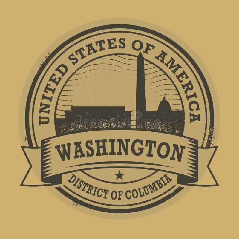 Grungezegel met naam van Washington, District van Colombia stock illustratie