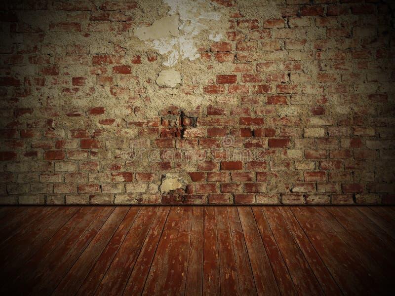 Grungy ściana i drewniana podłoga, ciemnego pokoju tło obraz stock