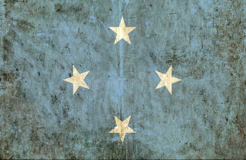 Grungy бумажный флаг Микронезия иллюстрация вектора