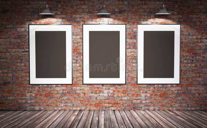 Grungy интерьер с шаблоном плаката дерева для представления иллюстрация вектора