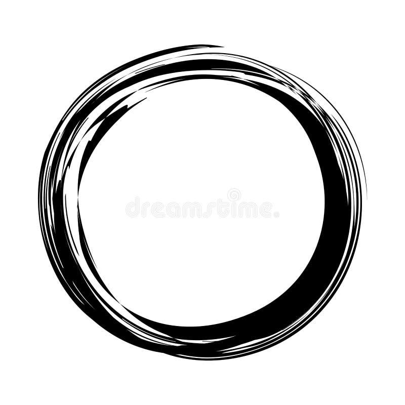 Grungy круглый круг чернил иллюстрация вектора