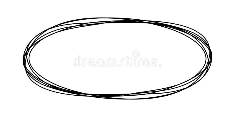 Grungy круглый овал scribble бесплатная иллюстрация