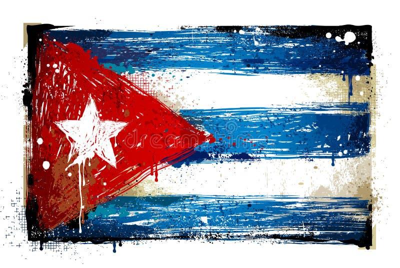 Grungy кубинський флаг иллюстрация штока