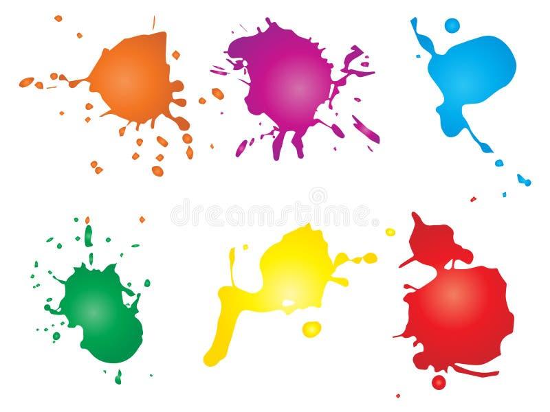 Grungy падение краски, ручной работы творческий выплеск или ход splatter иллюстрация вектора