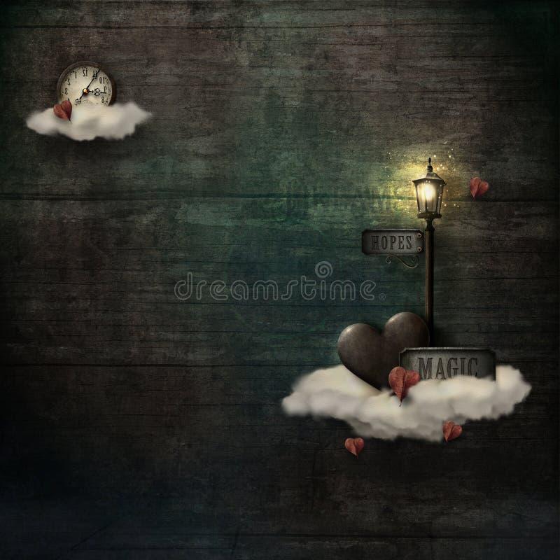 Grungy предпосылка с облаками, сердцем & фонарным столбом иллюстрация вектора