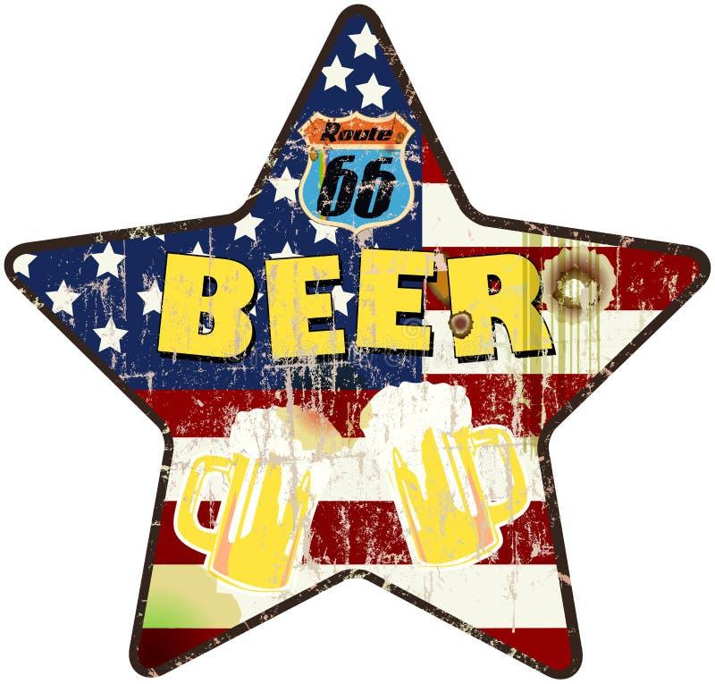 Grungy ретро знак бара пива трассы 66 иллюстрация вектора
